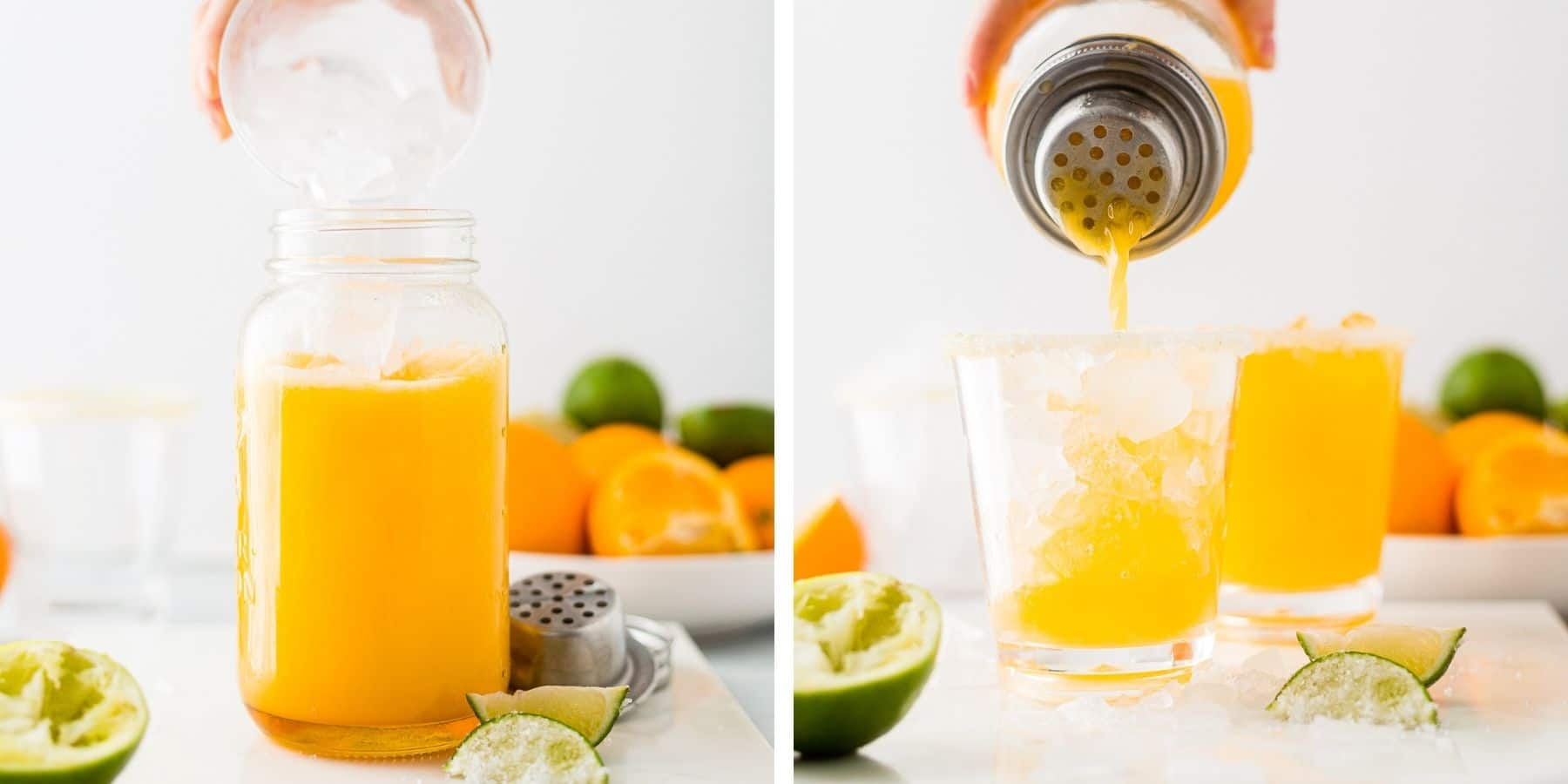 two step by step pictures showing you how to make mango margaritas in a shaker and then pouring them over a glass filled with ice