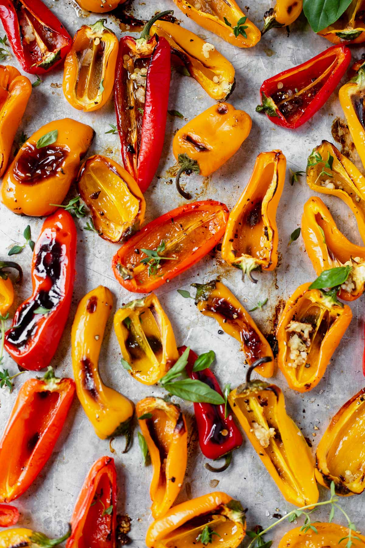blistered roasted mini peppers on a baking sheet garnished with fresh basil and thyme