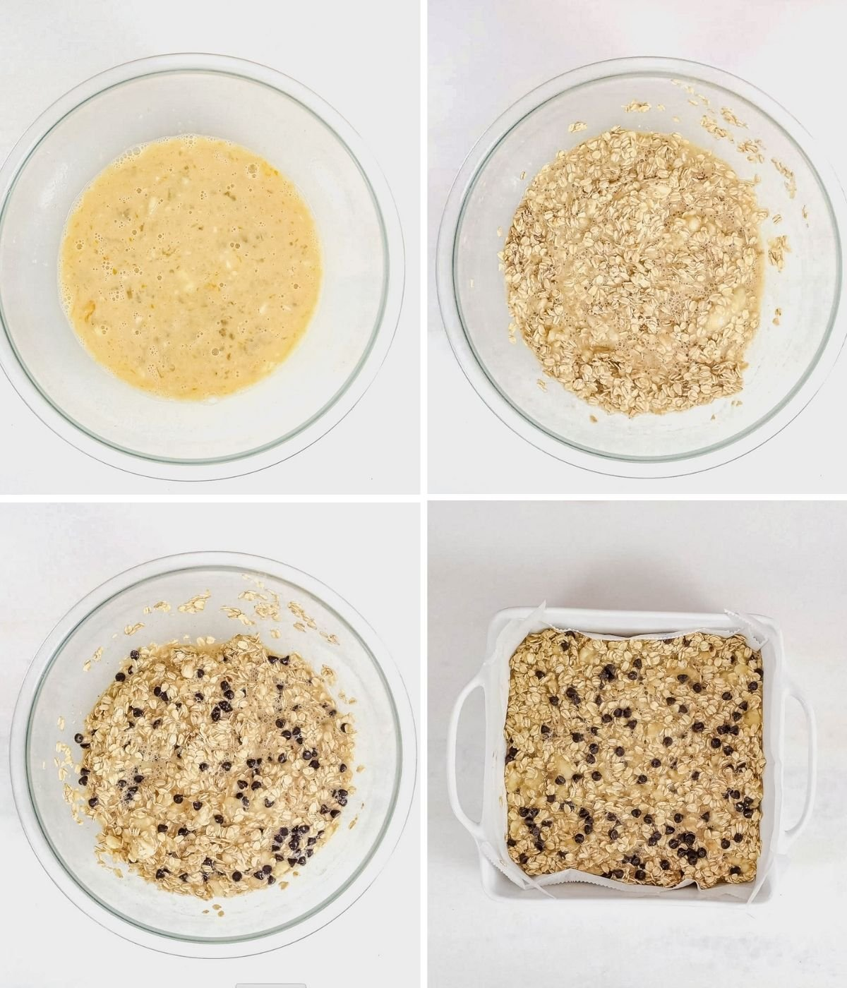 step by step images showing how to make banana baked oatmeal with one bowl showing the wet ingredients, one showing the oatmeal added, one with chocolate chips and the batter in a square dish before being baked