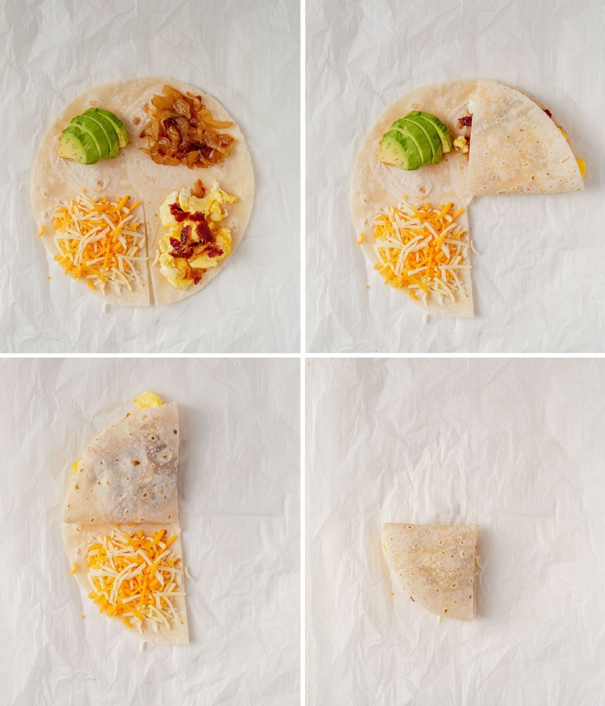 step by step how to fold the quesadilla hack