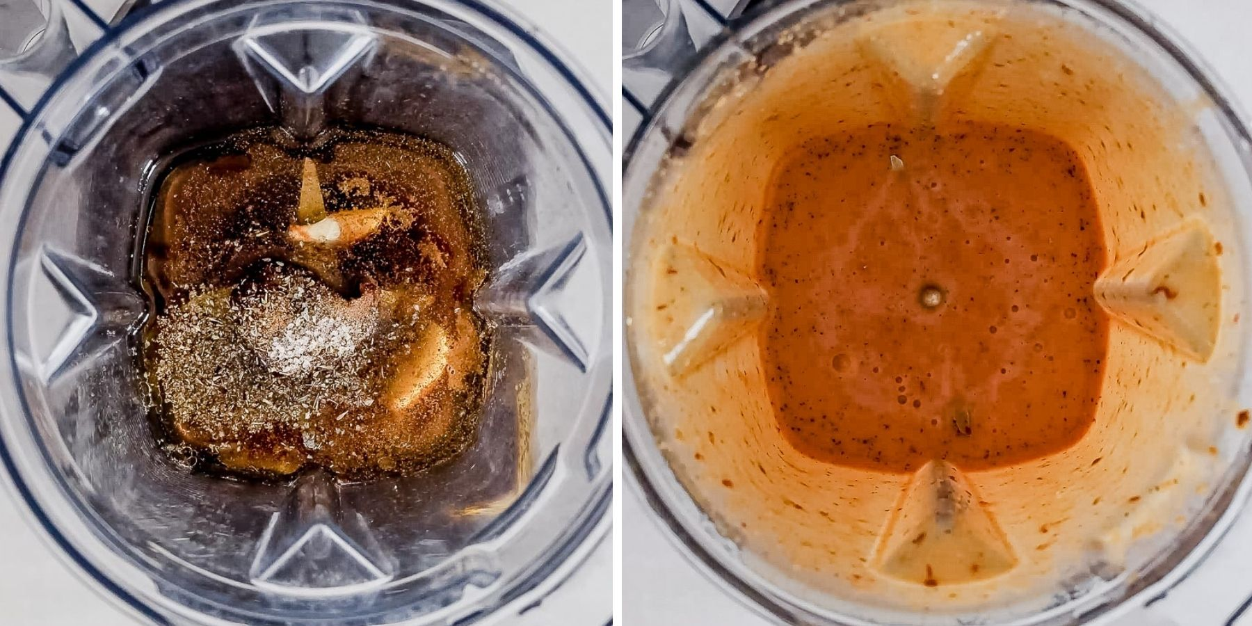two images showing how to make chipotle honey vinaigrette in the blender before and after it's blended