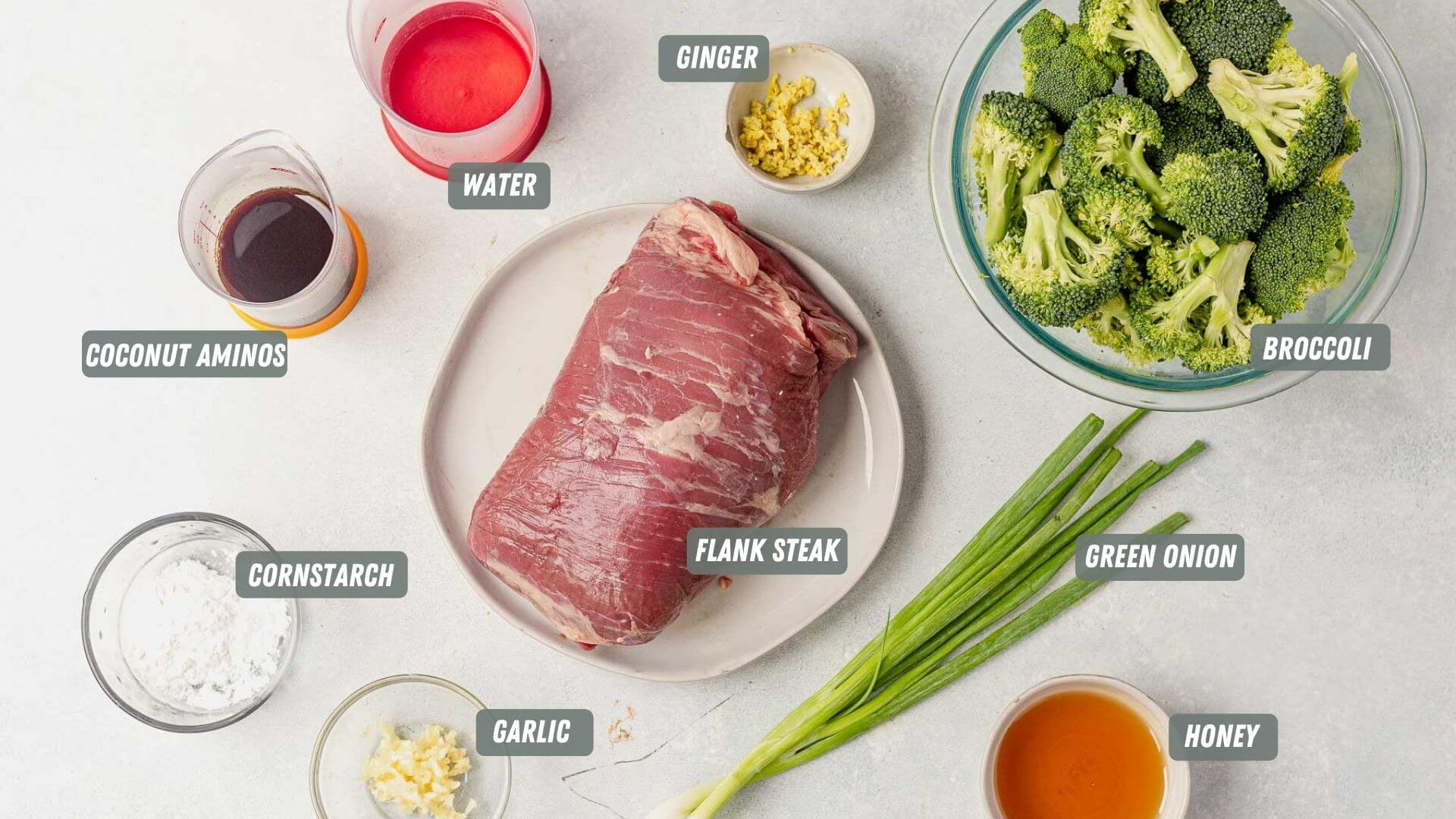 ingredients for instant pot mongolian beef measured out on a table