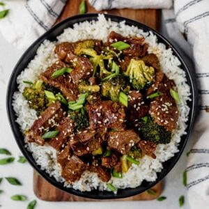 instant pot mongolian beef and broccoli on top of white rice