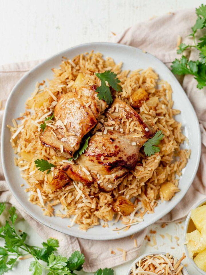 healthy hawaiian chicken dinner with coconut rice