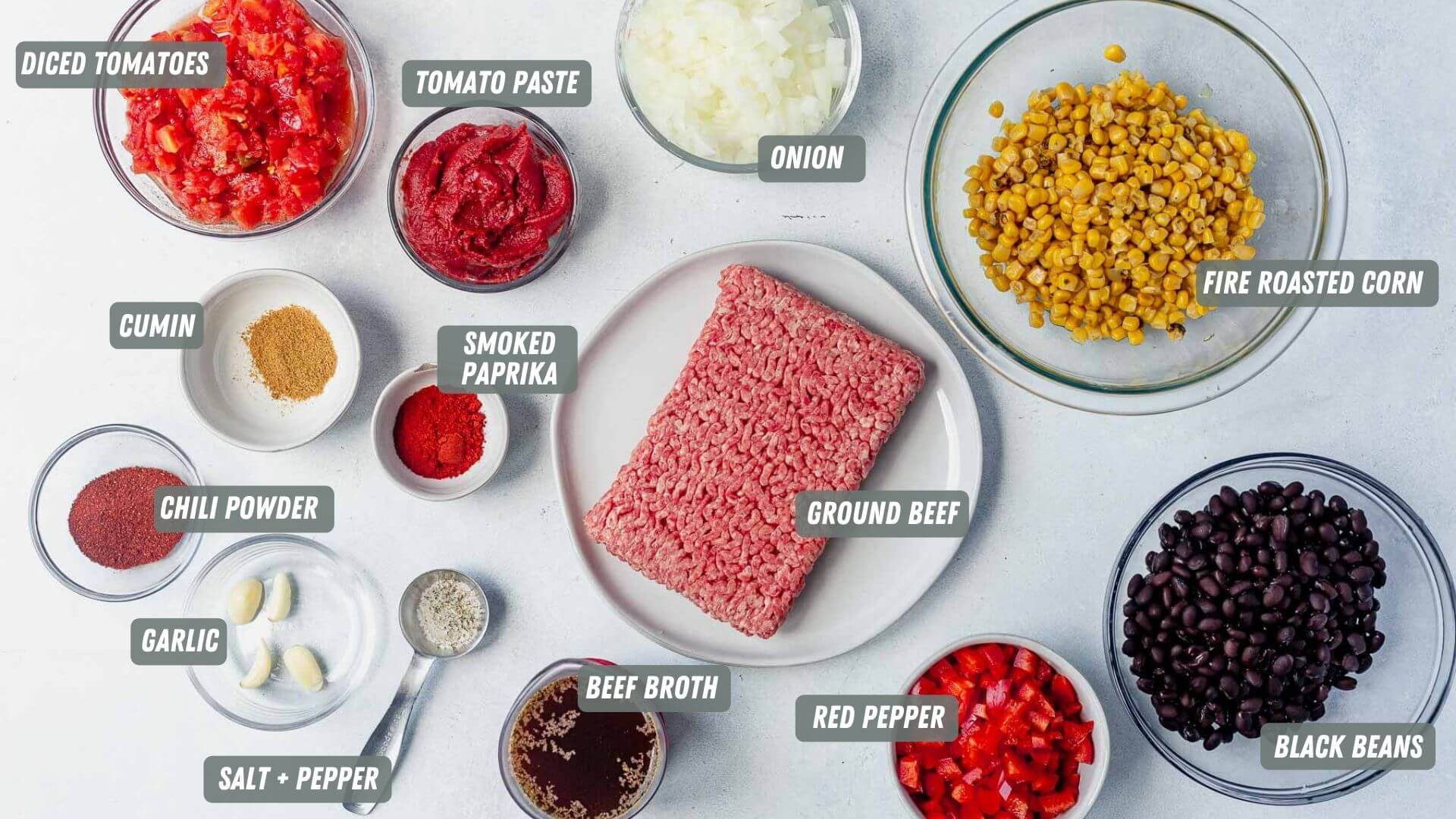 ingredients for taco soup instant pot on a table with each ingredient labeled