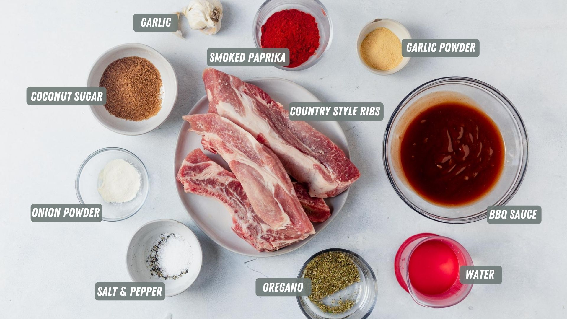 ingredients for instant pot country style ribs measured out on a table