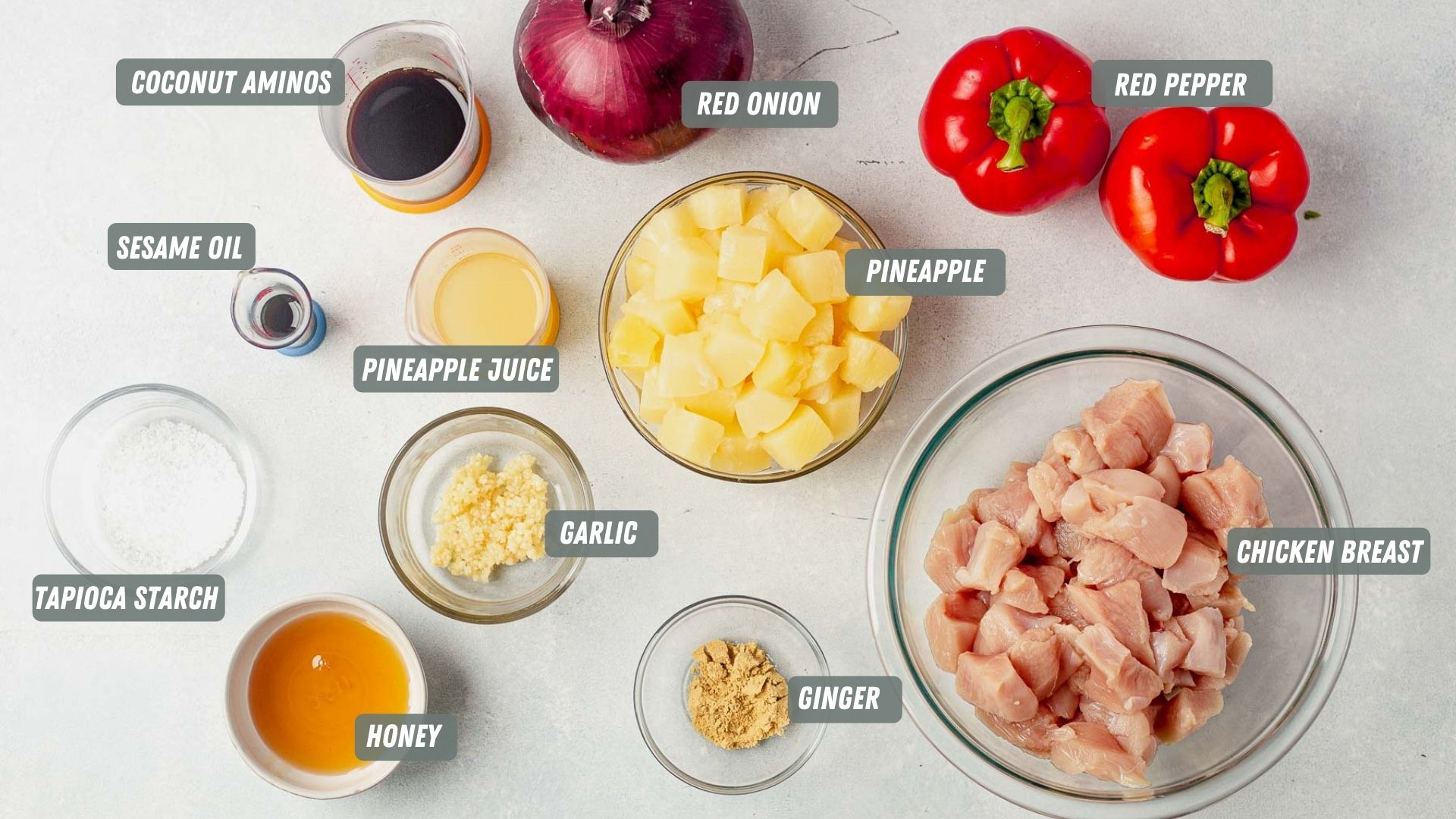 ingredients for hawaiian chicken kabobs measured out on the table