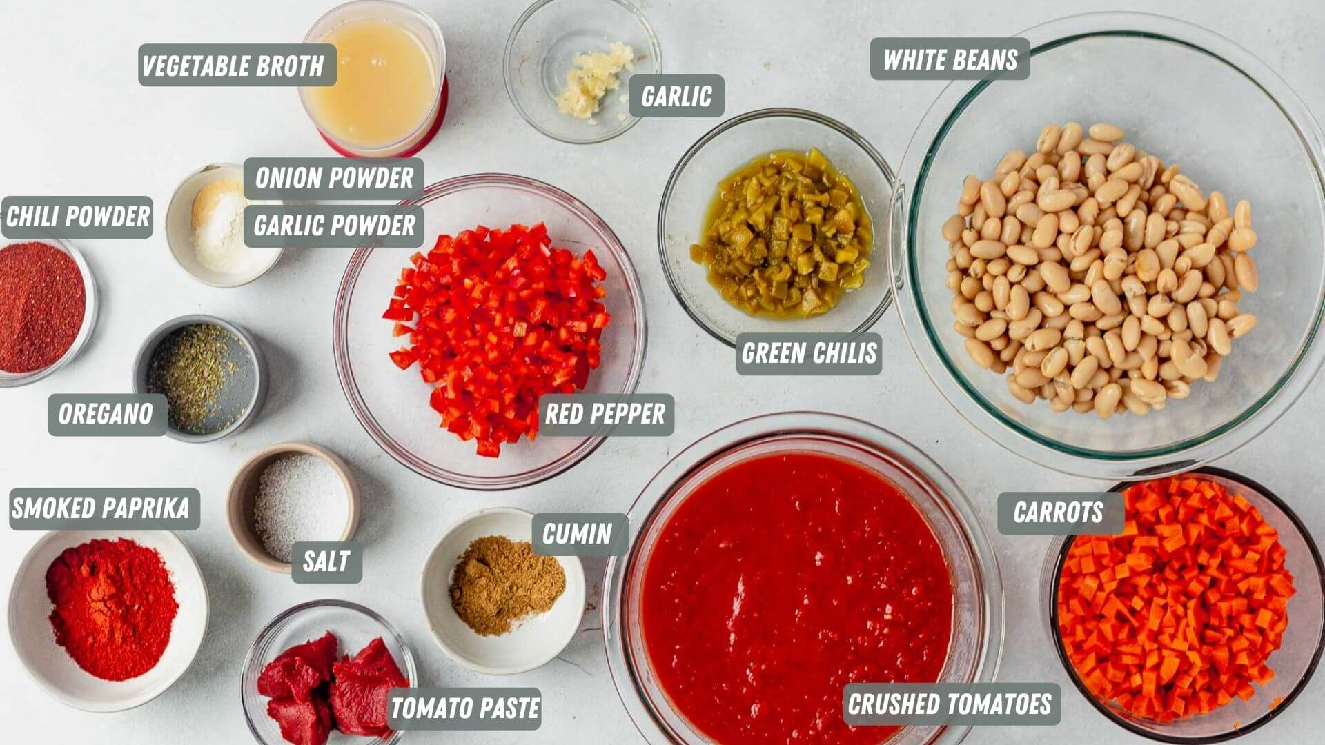 ingredients for vegetarian chili measured out on a white table
