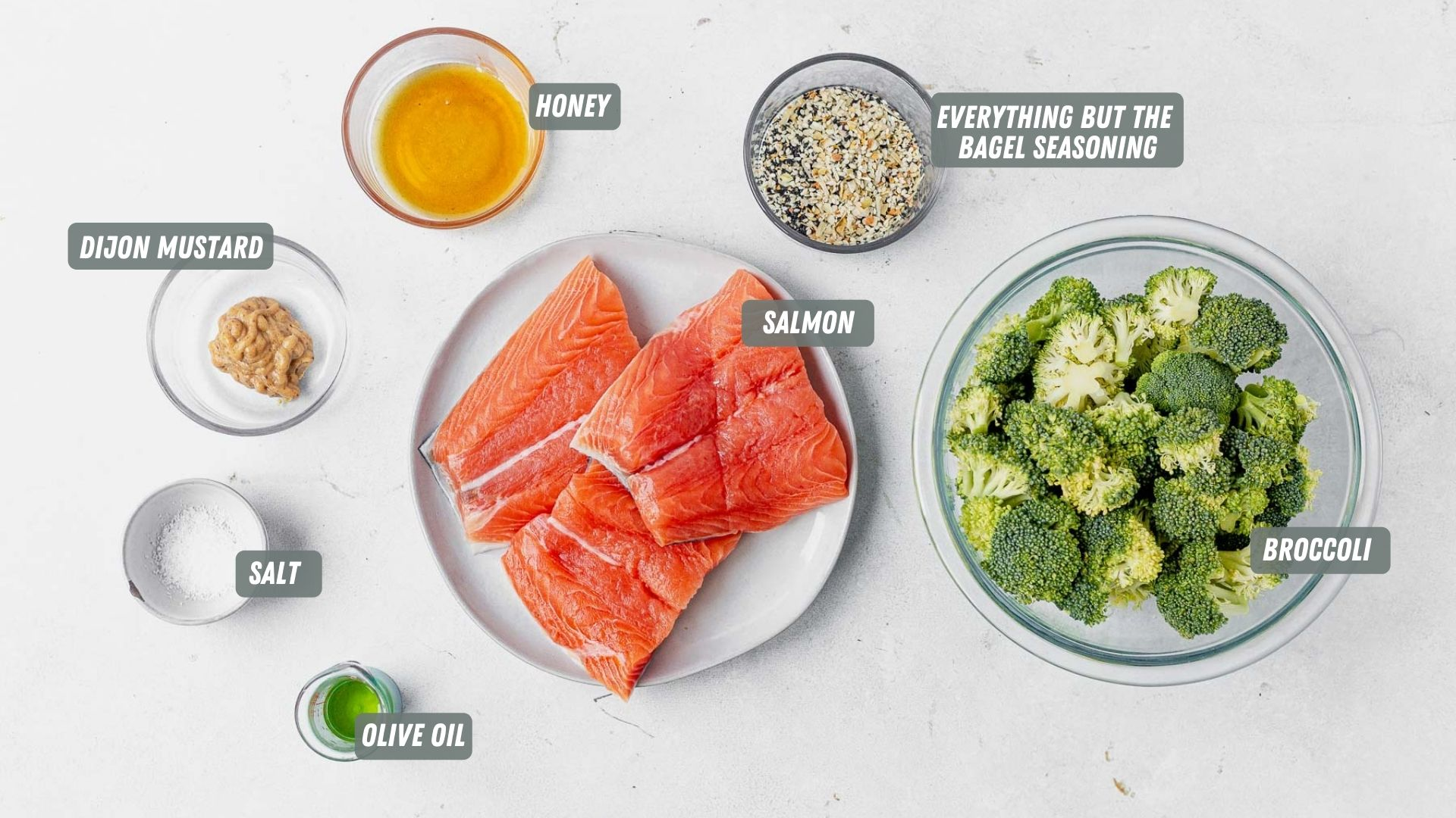 everything but the bagel salmon ingredients measured out on a white table