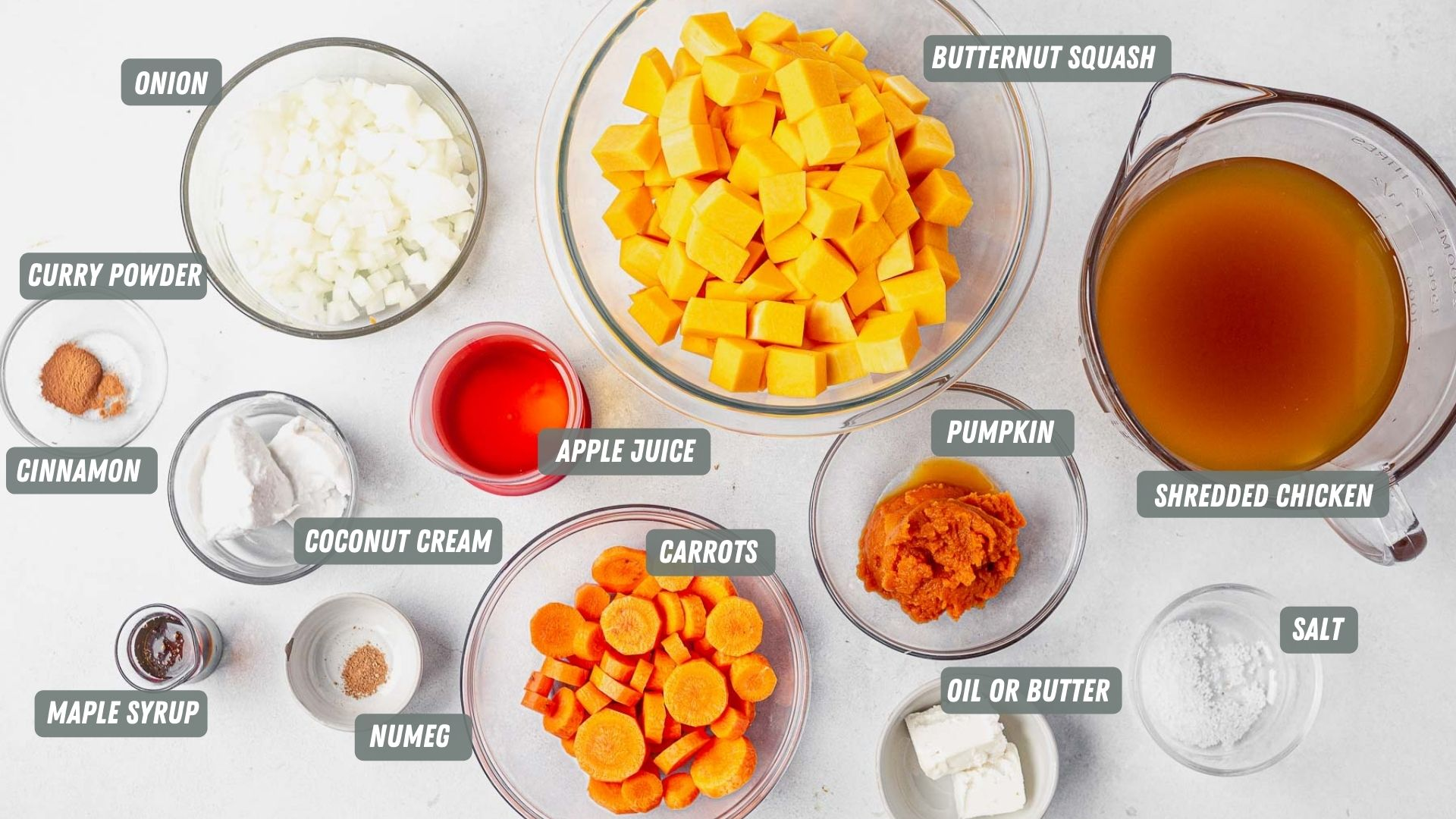 panera autumn squash soup ingredients measured out on a white table